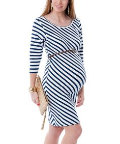 Take a look at this Navy & White Toscana Stripe Maternity Dress by Sono Vaso on #zulily today!