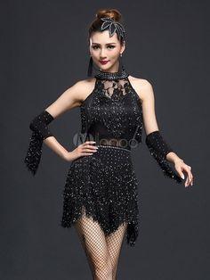Black Fringe Nylon Latin Dance Costume for Women & Costumes > Costumes > Dance Costumes > Latin Dance Costumes Ice Dresses, Sexy Dresses, Dresses With Sleeves, Dress Sleeves, Nylons, Trinidad Y Tobago, Latin Dance Dresses, Dance Skirts, Salsa Dress