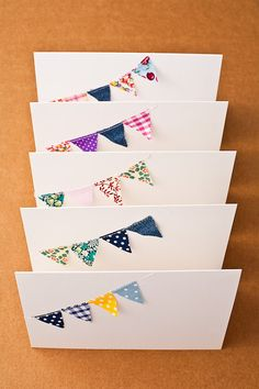 very cute bunting cards. washi tape for flags? diy