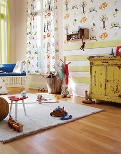 Esprit For Kids 3 941151 Papel de Parede TNT Árvores, Corujas Cinza, Laranja, Marrom Escuro, Verde