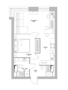 Small Apartment Plans, One Room Apartment, Small Apartment Design, Apartment Layout, Small Apartments, Small House Plans, House Floor Plans, Architecture Site, Tiny Mobile House