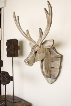 1600 wood plans - The Kalalou Recycled Wooden Deer Head Wall Hangingwill give an eye-catching look to your wall. ThisDeer look natural and have a great finish. The Deer Head Wall Woodworking Drawings - Get A Lifetime Of Project Ideas and Inspiration! Easy Woodworking Projects, Diy Wood Projects, Teds Woodworking, Wood Crafts, Woodworking Furniture, Popular Woodworking, Wood Furniture, Woodworking Workshop, Recycled Furniture