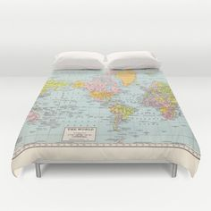 World Map Duvet Cover  bed  bedroom travel decor cozy by Mapology