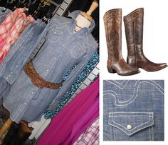 Cross-over western style dress is perfect for a daytime picnic or a night out on the town. #chambray#denimdress#ariatdenim#westernboots  http://www.tackroominc.com/ariat-womens-chambray-tehama-dress-p-18781.html