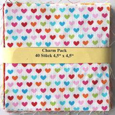 """asc-140-601040 x (4,5"""" x 4,5"""" - ~ 11,43 cm x 11,43 cm)  Charm Pack - 40 Stoffe in kräftigen und multicoloren Farben, 20 verschiedene, jeweils zweimal - Stoffzusammenstellung variiert"""