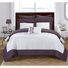 Chic Home 10-Piece Ivanka Modern TWO Tone Reversible Hotel Collection, with embellished borders and embroidery decor pillow King Bed In a Bag Comforter Set Plum With sheet set, Purple #ModernBedSheets