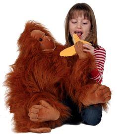 Large Full Body Orangutan W Banana Puppet