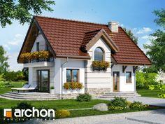 Dom w lukrecji 5 (T) 2 Story House Design, Flat House Design, Minimal House Design, Simple House Design, Small House Plans, House Floor Plans, Building Design, Building A House, Small Country Homes
