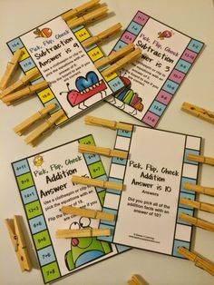FREEBIES - Addition and Subtraction Clip, Flip, Check Cards. Children clip the facts that add or subtract to the number on the card. Then they flip the card over to check their answers! The kids love these flip cards! Math Classroom, Kindergarten Math, Preschool, Math Resources, Math Activities, Math Worksheets, Math Facts, Multiplication Facts, Subtraction Games
