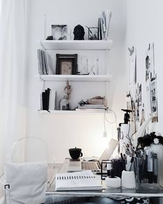 Ikea 'Ekby/Gällö ' wall shelf | Moodboard on the wall | @emmaberghem | Small Workspace