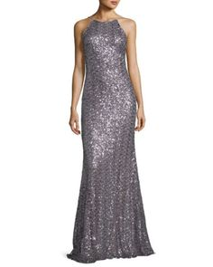Sleeveless Sequin Cowl-Back Gown, Wisteria