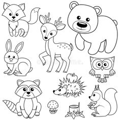 Forest animals. Fox, bear, raccon, hare, deer, owl, hedgehog, squirrel, agaric and tree stump. Black and white vector illustration royalty free illustration