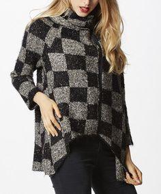 Look at this #zulilyfind! Black & Beige Checkerboard Zip-Up Hi-Low Sweater #zulilyfinds