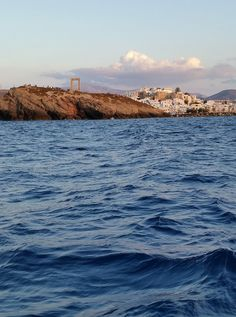 Approaching Naxos Town in the evening, with our sailing yacht Annabella.