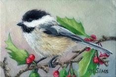 Items similar to BIRD - Chickadee art - bird art print - bird painting - holiday art on Etsy Watercolor Bird, Watercolor Paintings, Original Paintings, Bird Paintings, Nature Prints, Bird Prints, Bird Nursery, Bird Artwork, Pictures To Paint