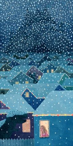 illustration entitled, 'Kim' by Chuck Groenink Illustration Arte, Winter Illustration, Drawn Art, Landscape Quilts, Winter Art, Winter Blue, Winter Painting, Winter Snow, Painting Art