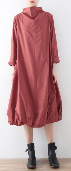 2017 warm pink red casual cotton dresses turtleneck maxi dress