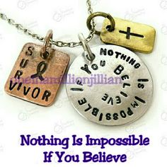 "POPULAR - Nothing is Impossible Necklace Brand New - Never Worn   18"" Chain + 2"" extender   Color: Antique Plated Tri-Tone (silver, copper & gold/bronze)  * Round pendant with the uplifting phrase ""Nothing Is Impossible If You Believe"".  * Square pendant with the word ""Survivor"" & an awareness ribbon  * Rectangle pendant with a cross  Great to buy as a reminder for yourself or to give as a gift to a friend or loved one going thru a rough time in life.  #divorce #inspiration #addiction #sober…"
