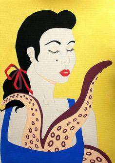 Y si además de tentáculos tienen labios rojos....  #pop #artepop #popart #coloresplanos #colorido #posca #pulpofilia #pulpo #octopus #mujer #chica #girl #woman #art #arte #paint #pintura #rociob #rociobart #rociobarroso #tentaculos #morena