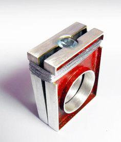 Paolo Scura, Ring, 2011, Silver oxidized, paint, nylon, aquamarine