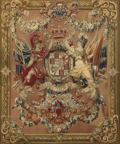 Tapestry Coat of Arms of William and Mary, which hangs in the King's Dining Room at Windsor Castle. circa 1690.