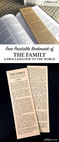 Free Printable Bookmark - The Family: A Proclamation to the World