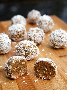 No-Bake Carrot Cake Protein Balls - sweet, nutty, and soft, and they're cake-like without a drop of flour. Made with raw cashews, pecans, dates, raw carrot, rolled oats, and unsweetened coconut, each 88-calorie snack offers 3.3 grams of protein. Vegan. ***GF if you use GF rolled oats and protein powder!