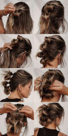Easy Messy Hairstyles, Work Hairstyles, Messy Updo, Hairdo For Long Hair, Long Hair Hairdos, Short Hair Dos, Hair Updo, Your Hair, Medium Hair Styles
