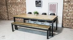 Get the refectory look with our table and bench set. Our refectory table and bench set adds a real nostalgic touch to traditional and modern rooms. Industrial Dining, Vintage Industrial Furniture, Dining Table With Bench, Dining Tables, Wooden Tops, Solid Wood, New Homes, Dining Room, Outdoor Decor