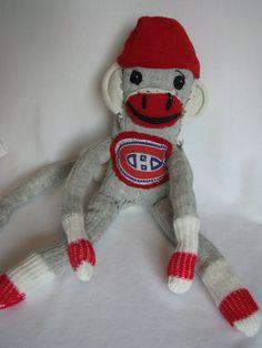 Items similar to Sock Monkey - Montreal Canadians on Etsy Hockey Stuff, Hockey Teams, Stuffed Animals, Dinosaur Stuffed Animal, Hockey Cakes, Sock Monkeys, Toronto Maple Leafs, Montreal Canadiens, Christmas Wishes