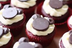 Red Velvet Mickey Mouse Cupcakes