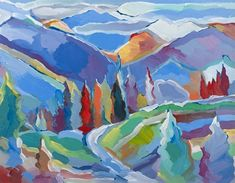 Large colorful abstract landscape with trees and mountains. Colorado Composition 5 Wall Art by Hooshang Khorasani from Great BIG Canvas. Abstract Landscape, Landscape Paintings, Abstract Art, Food Art Painting, Mountain Art, Framed Prints, Canvas Prints, Commercial Art, Office Art
