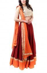 Maroon and Orange Lehenga Set Indian Wedding Guest Dress, Wedding Sari, Orange Lehenga, Silk Chiffon, Women Wear, Indian Saris, Cut Work, Outfits, Dresses