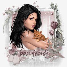 """Son chaton dans les bras """"Bon jeudi"""""""