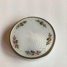 Gustav Gaudernack design for David Andersen. Silver gilt guilloché enamel pill-box with painted rose motif. 1905-1910