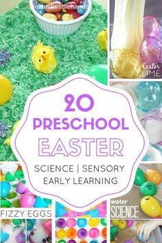 Fun preschool Easter activities for Spring early learning. Our preschool Easter activities include science, STEM, sensory, and early learning play ideas.