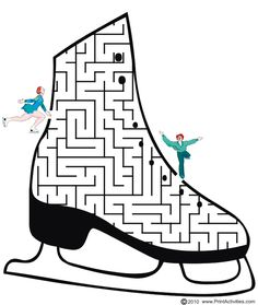 This figure skate shaped maze is a great printable maze activity page for kids who love figure skating. Ice Skating Party, Skate Party, Kids Olympics, Winter Olympics, Figure Skating Quotes, Contexto Social, Mazes For Kids, Digi Stamps, Winter Sports