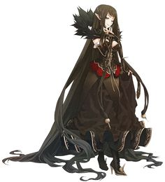 absurdly_long_hair assassin_of_red black_dress brown_hair dress fate/apocrypha fate_(series) highres konoe_ototsugu long_hair looking_at_viewer official_art one_eye_closed pointy_ears smile solo transparent_background very_long_hair Fate Assassin, Assassin Of Red, Vampire Female, Vampire Queen, Amakusa, Chica Anime Manga, Anime Art, Semiramis Fate, Mabuchi Kou