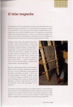 TELAR MAPUCHE.pdf Textiles, Aldo, Loom Knitting Patterns, Fabric Patterns, Weaving Looms, Activities, Fabrics, Cloths, Textile Art