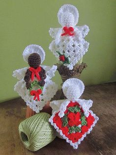 Transcendent Crochet a Solid Granny Square Ideas. Inconceivable Crochet a Solid Granny Square Ideas. Crochet Christmas Ornaments, Christmas Crochet Patterns, Holiday Crochet, Christmas Angels, Xmas, Angel Ornaments, Santa Ornaments, Christmas Snowman, Thread Crochet