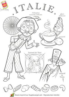 Italy paper doll to color Kids Around The World, People Of The World, Colouring Pages, Coloring Books, World Thinking Day, World Crafts, World Cultures, In Kindergarten, Adult Coloring