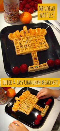 Waffles - a cute & easy Chanukah breakfast You can assemble these quick & easy Menorah waffles in moments for a special Chanukah breakfast!You can assemble these quick & easy Menorah waffles in moments for a special Chanukah breakfast! Feliz Hanukkah, Hanukkah Crafts, Hanukkah Food, Christmas Hanukkah, Hannukah, Happy Hanukkah, Hanukkah Recipes, Hanukkah Menorah, Hanukkah Harry