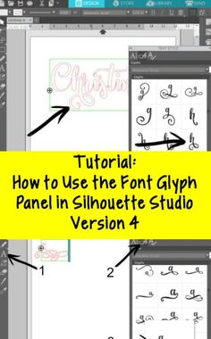 Step by step tutorial to use OTF font glyphs in Silhouette Studio version 4 Designer Edition. Tutorial is for PC Windows or Mac. Silhouette Cameo Tutorials, Silhouette Curio Projects, Plotter Silhouette Cameo, Silhouette Fonts, Silhouette Design Studio, Silhouette School, Silhouette Cutter, Silhouette Cameo Machine, Silhouette America