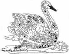 swan coloring for adults