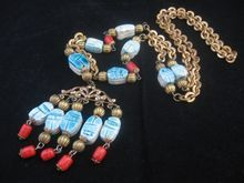 Stunning Egyptian Revival Necklace Ceramic and Glass Beads