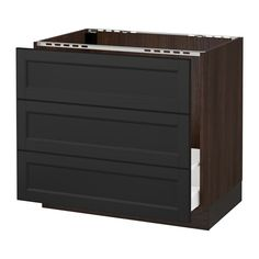 """*sink* 293 SEKTION Base cabinet f/sink & waste sorting - wood effect brown, Laxarby black-brown, 36x24x30 """" - IKEA"""
