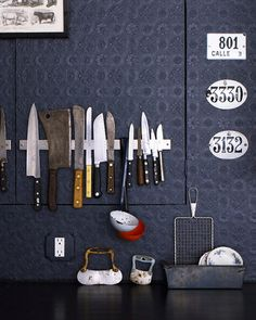 knife magnet and embossed wallpaper, source unknown