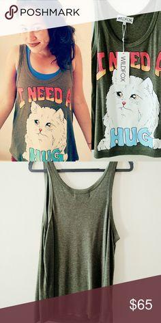 Wildfox I need a hug white cat tank New with tags, rare Wildfox tank, olive green Wildfox Tops Tank Tops
