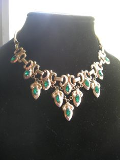 Green With Envy Signed Barclay Vintage Crystal Necklace by Xulha, $124.99
