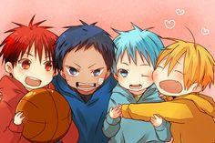 Chibi Kagami, Aomine, Kuroko, and Kise ^_^ (Kuroko no Basket) Kise Kuroko No Basket, Aomine Kuroko, Kise Ryouta, Kagami Taiga, Akashi Seijuro, Anime Boys, Manga Anime, Anime Chibi, Sky Anime